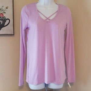 NWT Poof new york lilac stretch long sleeve top